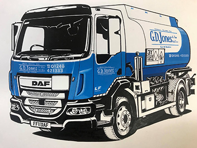 A close up sketch of the front of one of our lorries